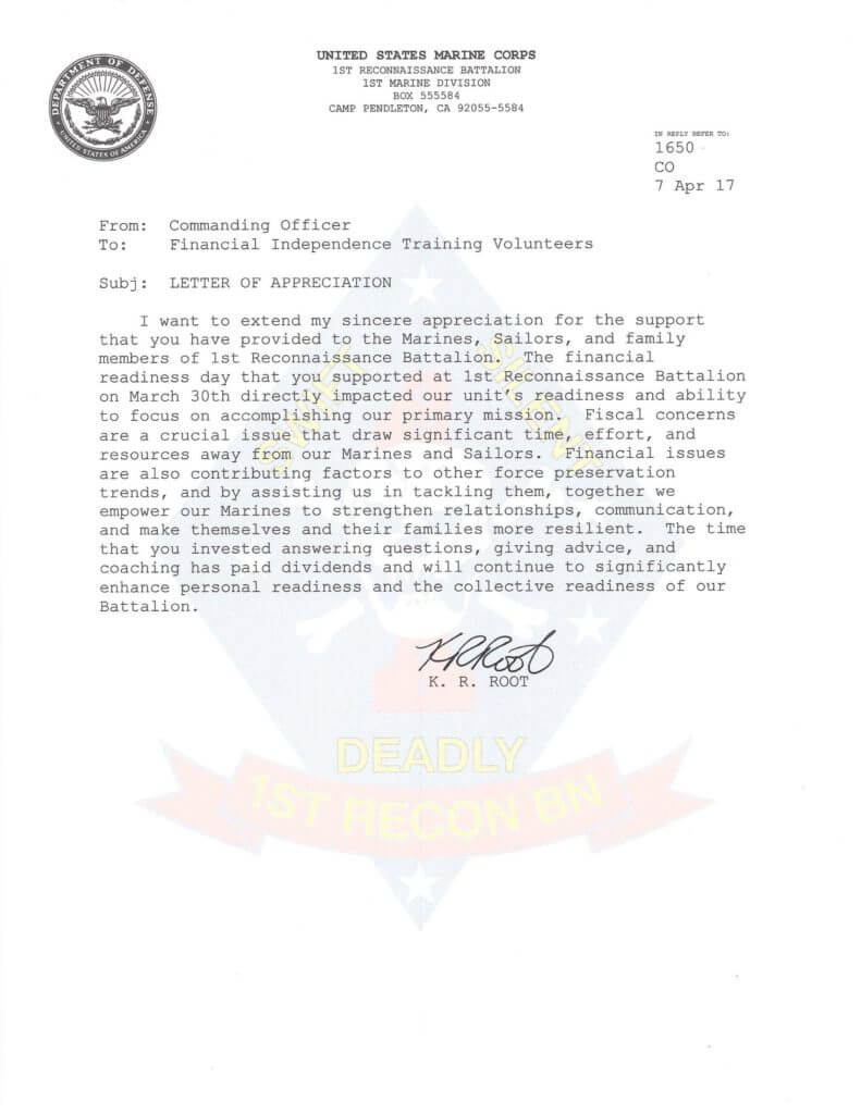 Marine Corps Thank You Letter